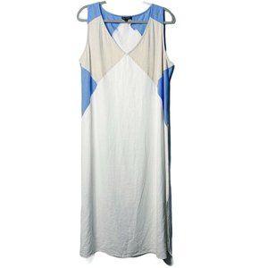 For Cynthia White Linen Maxi Dress XL Size Blue